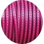 Cordon de cuir plat 5mm fuchsia couture blanche vendu au metre