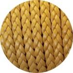 Cordon de cuir plat tresse 5mm jaune moutarde vendu au mètre