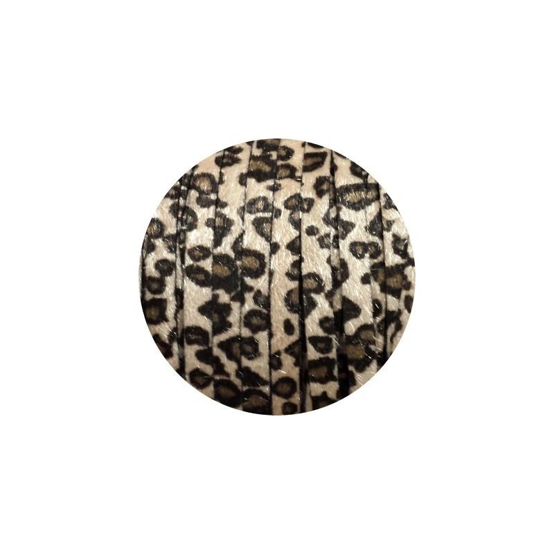 laniere de cuir plat 8mm leopard beige poils synth tiques. Black Bedroom Furniture Sets. Home Design Ideas