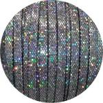 Cordon de cuir plat paillettes 6mm disco argent vendu au mètre