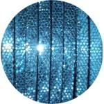 Cordon de cuir plat paillettes 6mm disco bleu vendu au mètre
