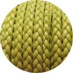 Cordon de cuir plat tresse 5mm pistache vendu au mètre