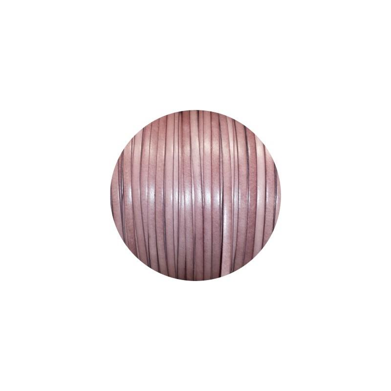 Cordon De Cuir Plat 5mm Couleur Vieux Rose Pastel Vente Au Cm