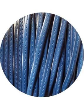 Cuir plat 5mm bleu nuit couture bleue vendu au mètre