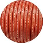 Cuir plat de 5mm corail couture blanche vendu au mètre-Premium